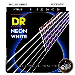 DR NWA-11 Hi-Def NEON White K3 Coated Custom Light Acoustic Guitar Strings 11-50 (11 15 22 30 40 50)