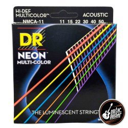 DR NMCA-11 Hi-Def NEON Multi-Color K3 Coated Custom Light Acoustic Guitar Strings 11-50 (11 15 22 30 40 50)