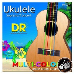 DR Multi-Color UMCSC Soprano/Concert Ukulele Strings 26-24 (26 36 30 34)