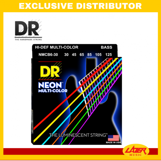 DR NMCB6-30125 Neon Multi-Color Bass 6 String Medium