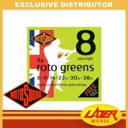 Rotosound R8 Roto Greens Nickel on Steel 8-38 Electric Guitar Strings