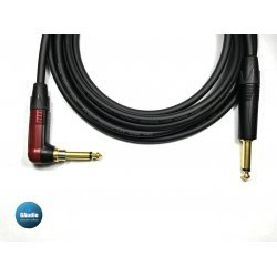 Mogami 2524 Premium Guitar Instrument Custom Cable with Neutrik Silent Right Angle to Gold Straight Plug