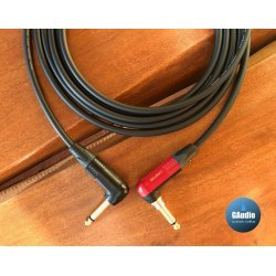 Mogami 2524 Premium Guitar Instrument Custom Cable with Neutrik Silent Right Angle to Gold Right Angle Plug